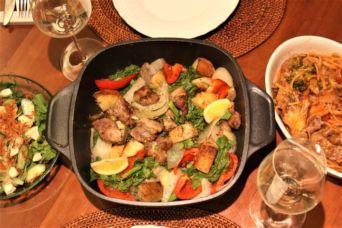 豚肩ロースと春野菜のローストとブロッコリーと舞茸のワンポットフィトチーネ