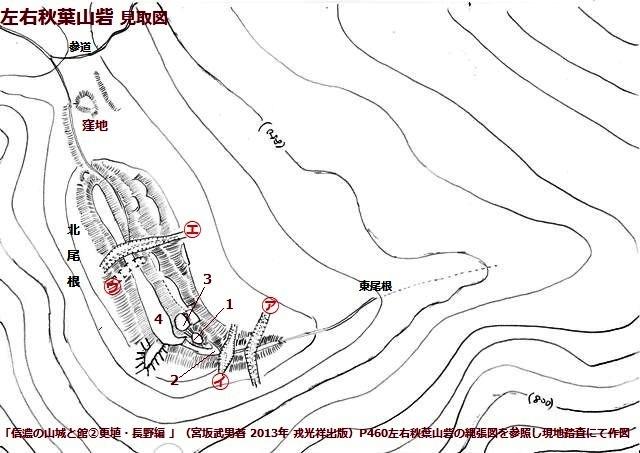 左右秋葉山砦見取図①