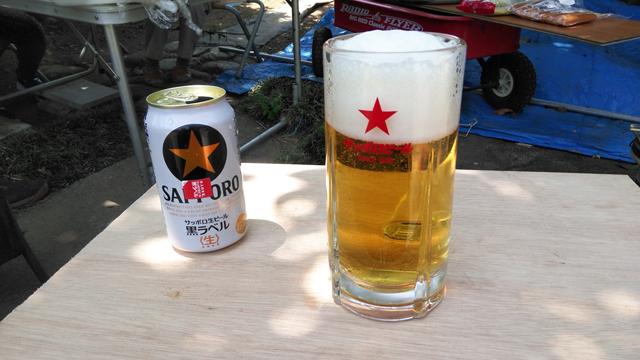 もらってきたジョッキ、うまい、ビールがうまい