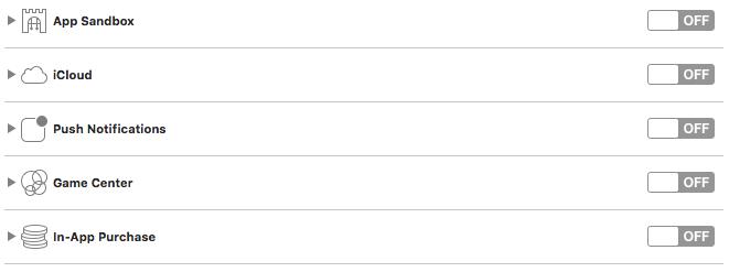 Xcodeのサンドボックス設定