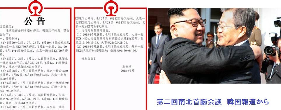 北朝鮮ー北京間の列車停止予告
