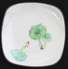 プラチナ縁四角皿きのこミドリ11
