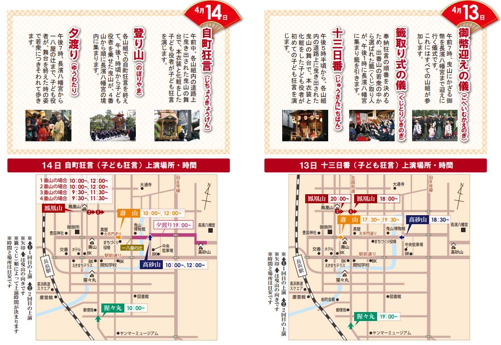 長浜曳山祭 4月13日、14日スケジュール