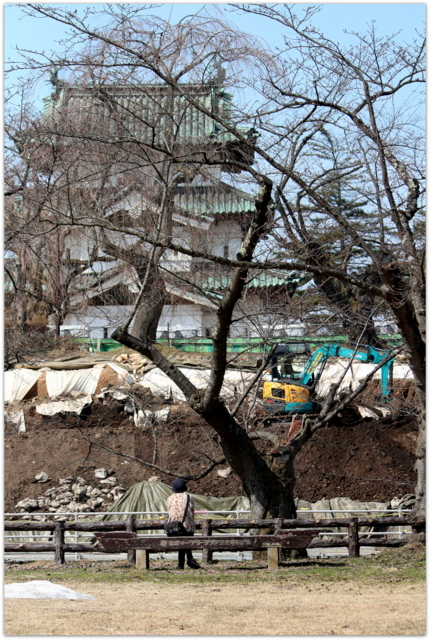 青森県 弘前市 弘前公園 弘前城 観光 写真 弘前城 石垣 修理 工事