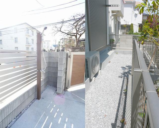 ■左:サーファーは嬉しい屋外シャワー完備 ■右:小さな専用庭付のお部屋です。