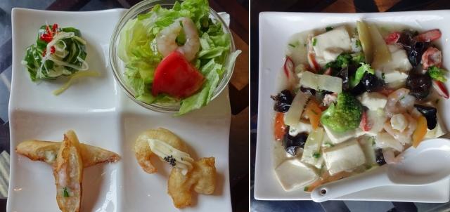 前菜4点と海鮮豆腐
