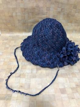 マニラヘンプヤーンの松編み帽子①