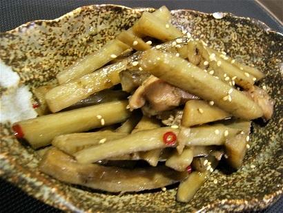新ごぼうと鶏肉炊き合わせ (1)
