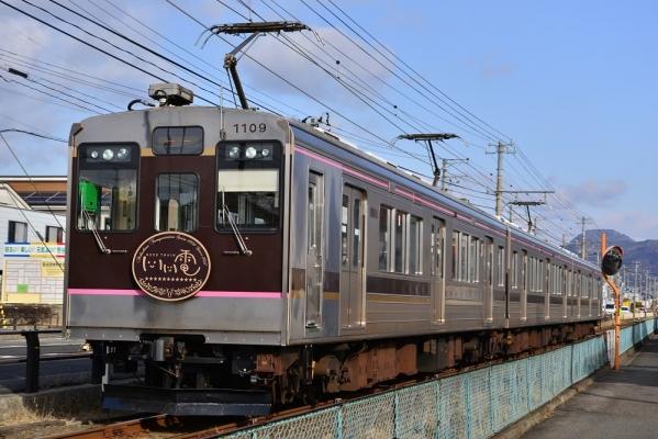 2018年1月19日 福島交通飯坂線 桜水~笹谷 1000系1109-1313-1210編成