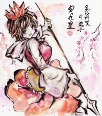 墨彩画 寅丸 桜吹雪1200px
