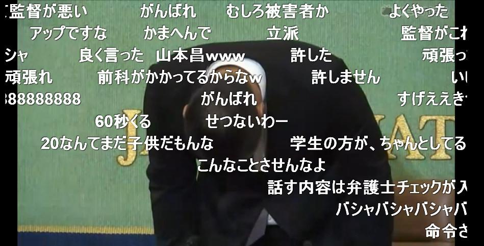 【画像】日大アメフト部宮川くんの会見に対するニコ生の反応wwww