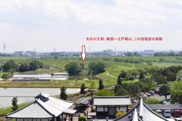 博物館天守閣から関宿城跡を望む。