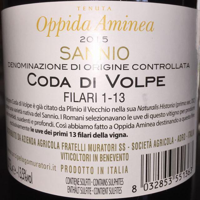 Coda Di Volpe Sannio Tenuta Oppida Aminea 2015 part2
