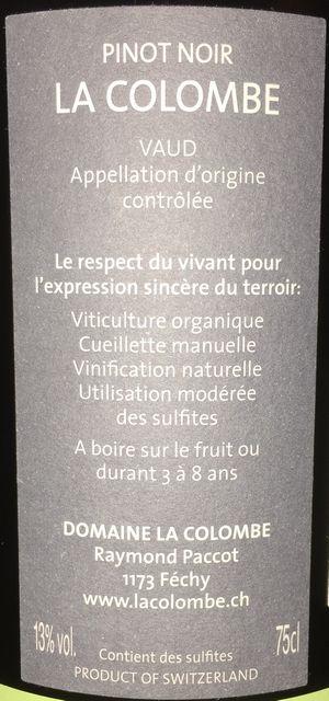 La Colombe Pinot Noir Raymond Paccot 2014 part2