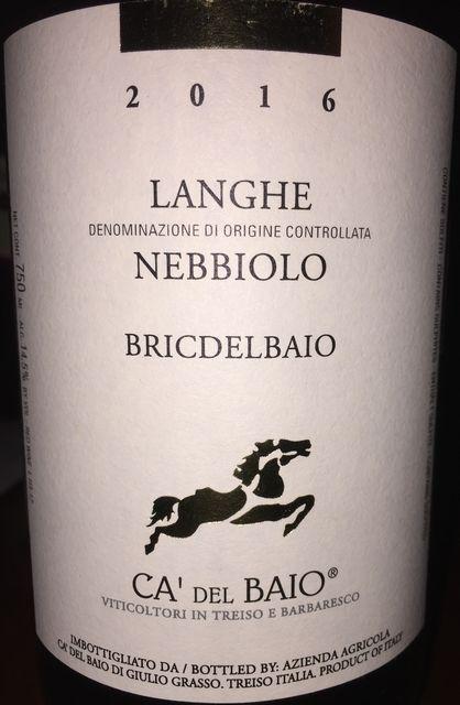 Langhe Nebbiolo Bricdelbaio Ca del Baio 2016 part1