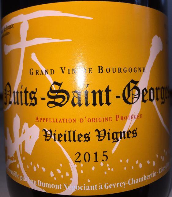 Nuits Saint George Vieilles Vignes Lou Dumont 2015