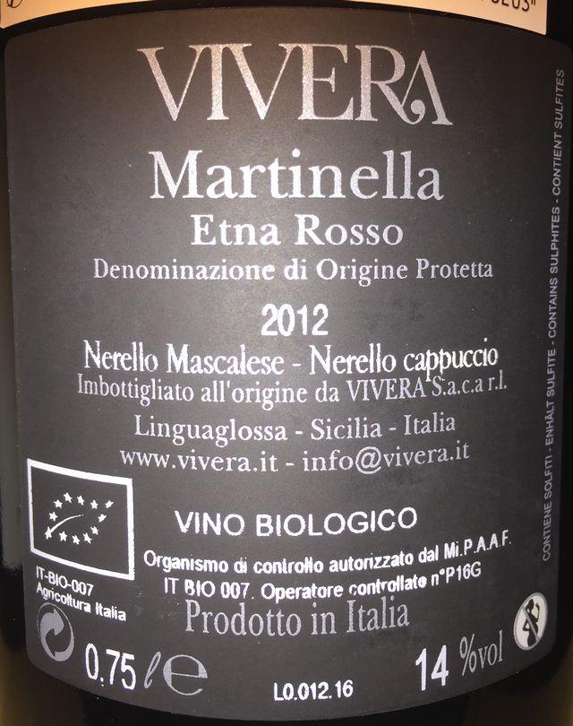 Vivera Martinella Etona Rosso Nerello Mascalese Nerello Cappuccio 2012 part2
