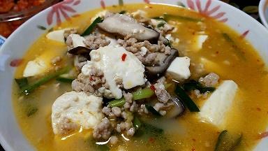 挽肉と豆腐スープ