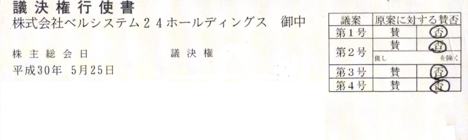 ベルシステム24株主総会議決権